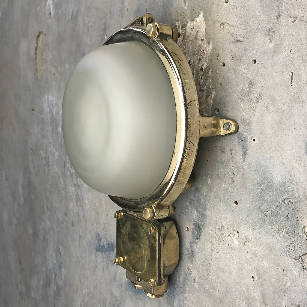 Large outdoor brass wall light with frosted glass