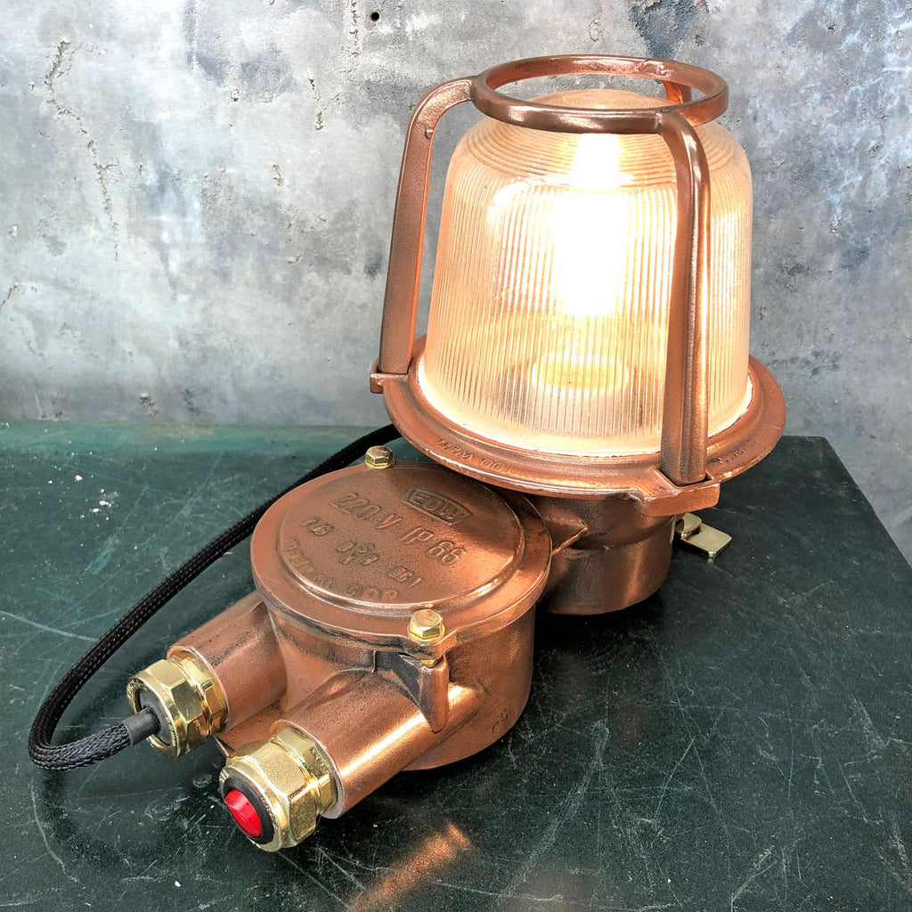 Vintage industrial 1970's copper and brass table lamp converted from an old bulkhead lamp by EOW.