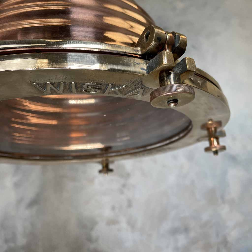 Vintage Industrial Copper & Brass Cargo Ceiling Pendant by Wiska
