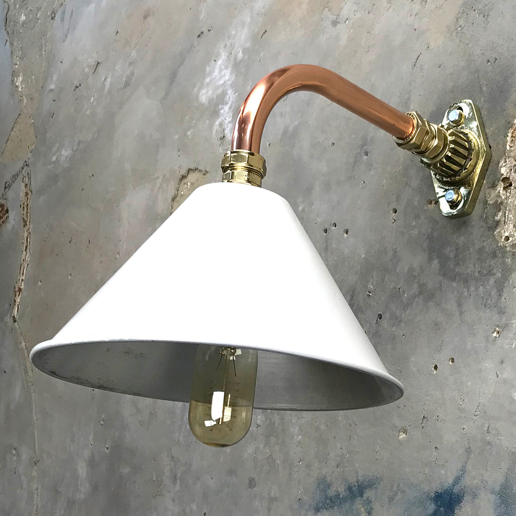 Vintage British Military Copper & Brass Cantilever Wall Light with White Shade