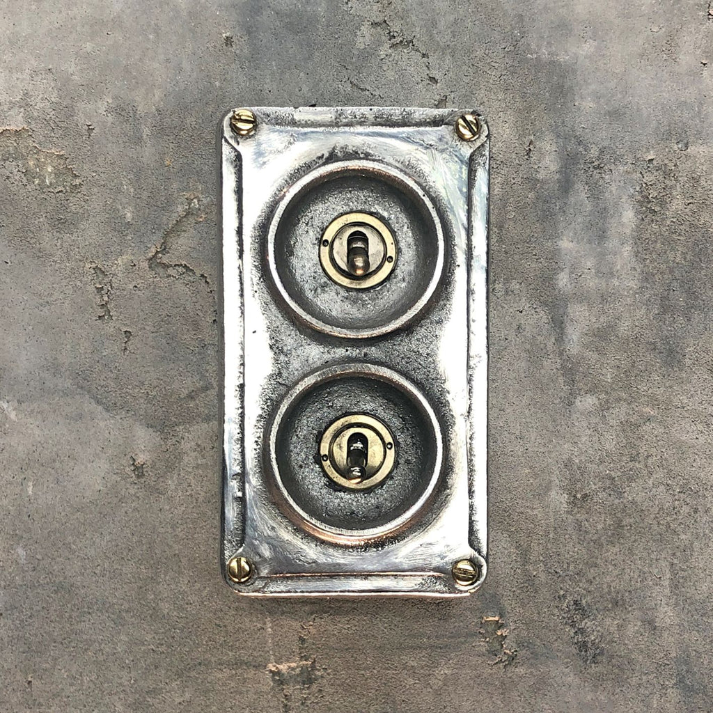 2 gang industrial light switch made from recycled alloy.