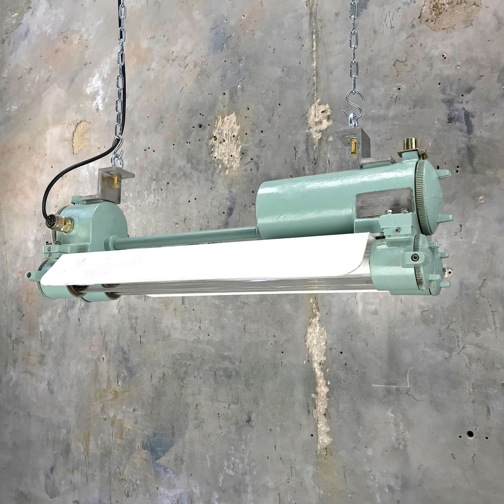 Retro industrial ceiling striplight painted duck egg green with energy saving LED tubes