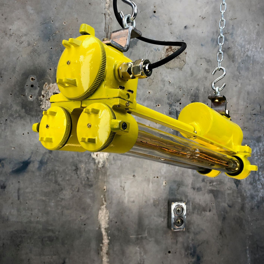 Yellow vintage industrial Edison tube ceiling Light