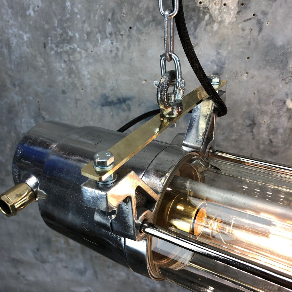 Vintage industrial aluminium & glass ceiling tube light