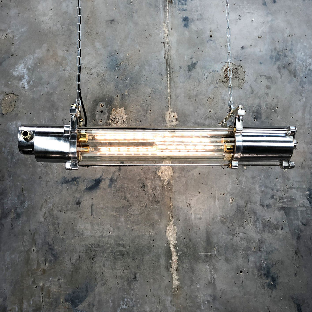 Vintage industrial LED lighting. Aluminium & glass ceiling tube light
