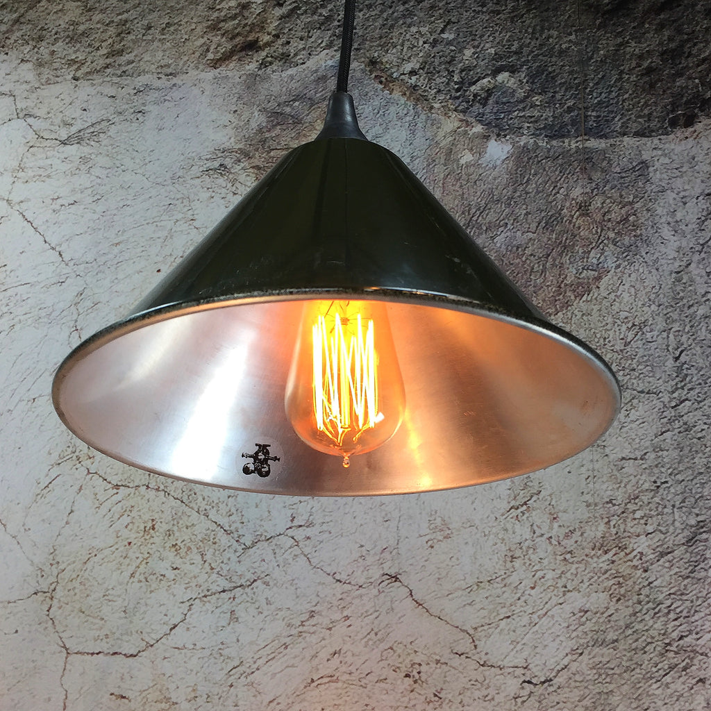 Vintage military green ceiling lamp shades with filament bulb