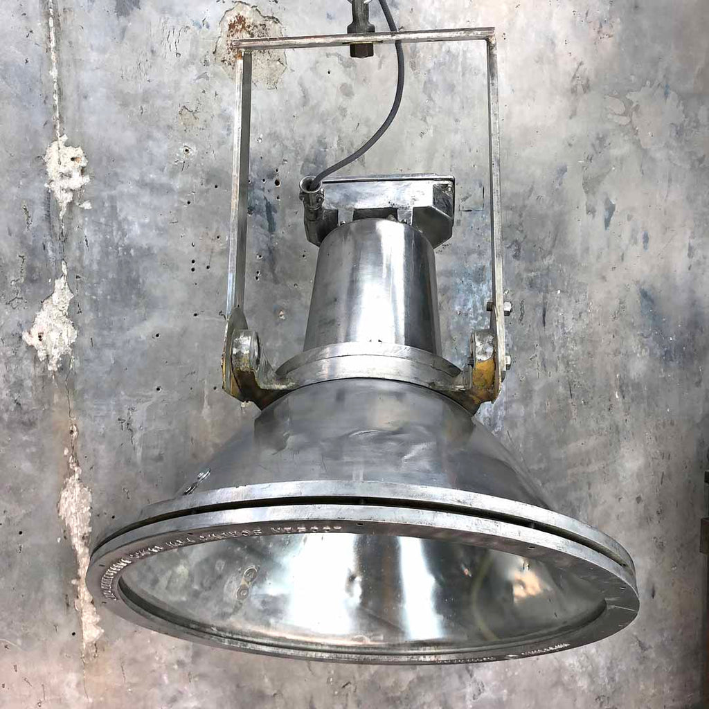Dutch vintage industrial aluminium ceiling pendant by Industria Rotterdam
