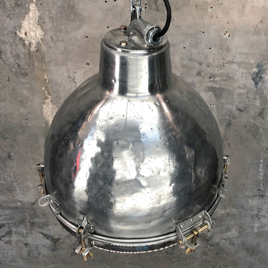 Aluminium Dome Industrial Pendant - Glass Lens