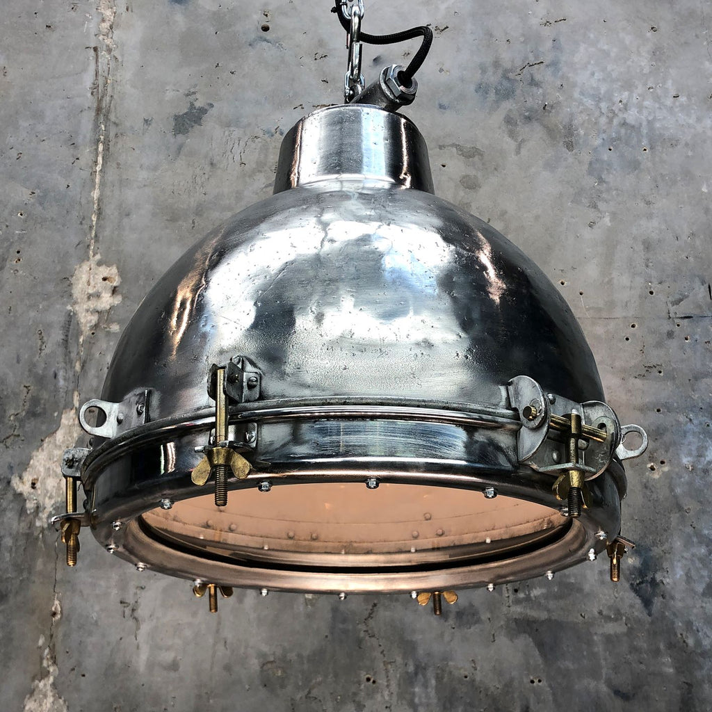 Vintage industrial aluminium dome ceiling pendant with glass lens