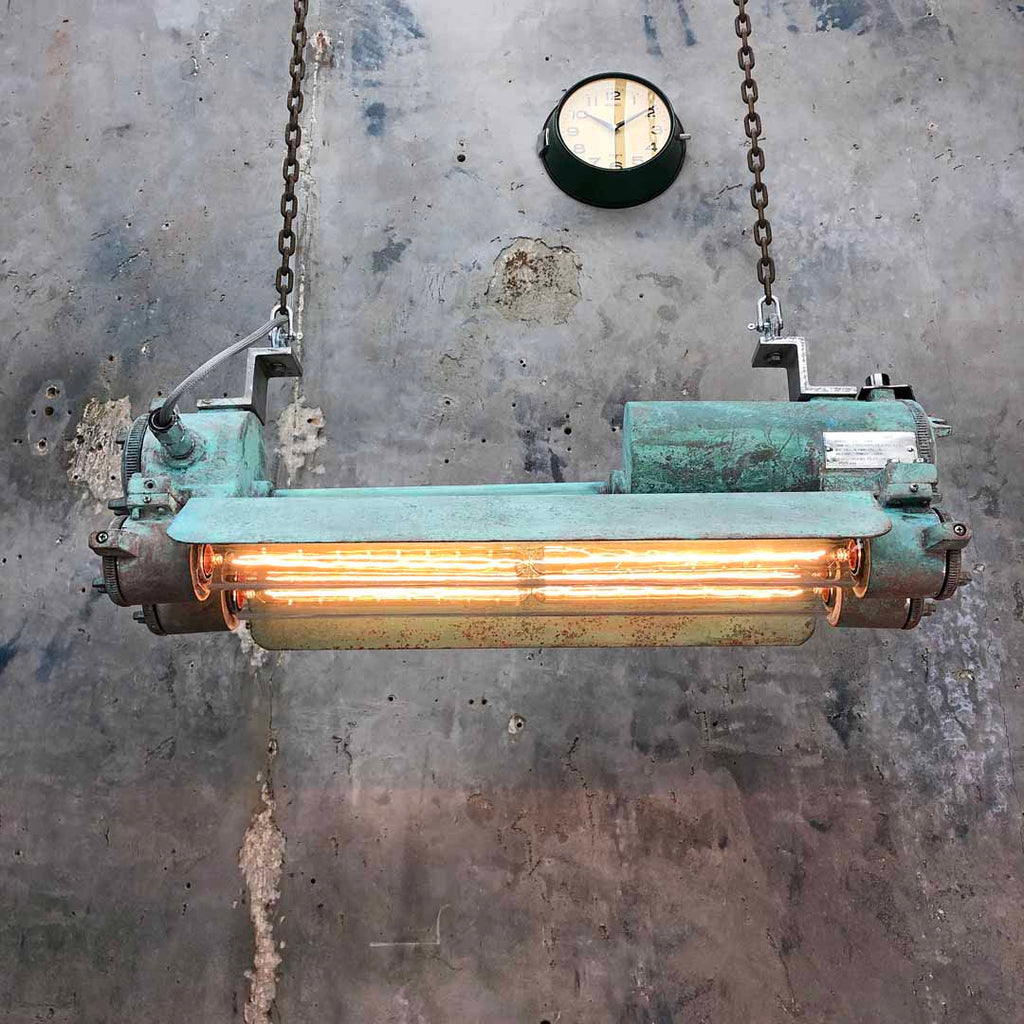 Vintage Industrial edison flameproof striplight with verdigris rust effect finish