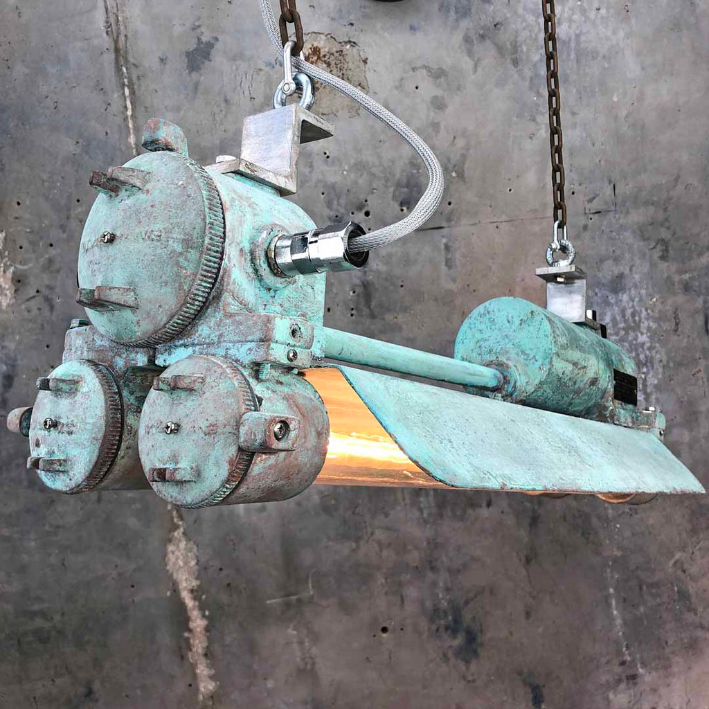 Vintage industrial edison flameproof strip light with verdigris rust effect finish