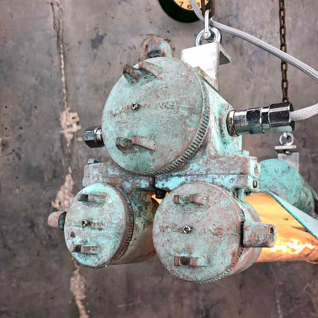 Industrial edison flameproof striplight with verdigris rust effect finish