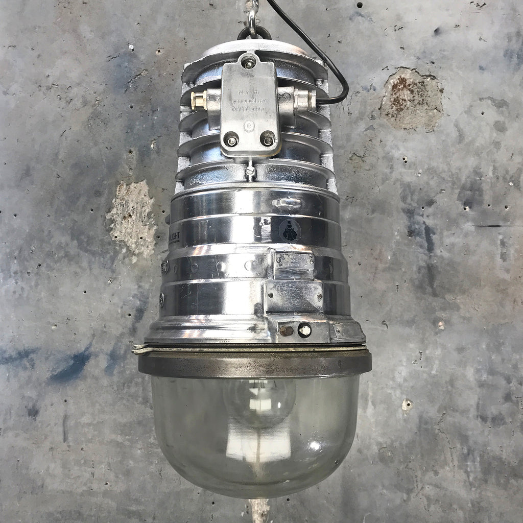 A large reclaimed retro industrial aluminium explosion proof ceiling pendant by EOW