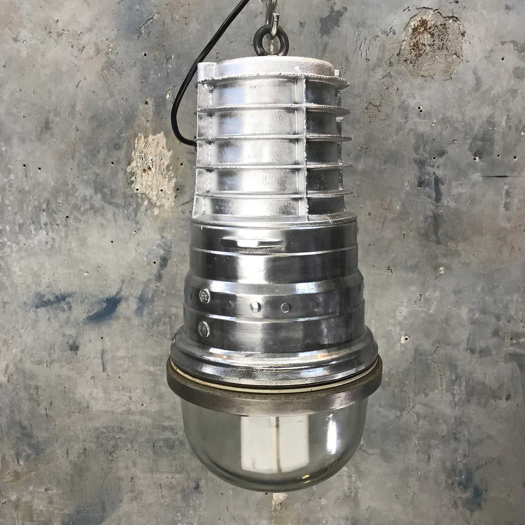 A large German vintage industrial aluminium explosion proof LED ceiling pendant light manufactured c1970 by EOW.
