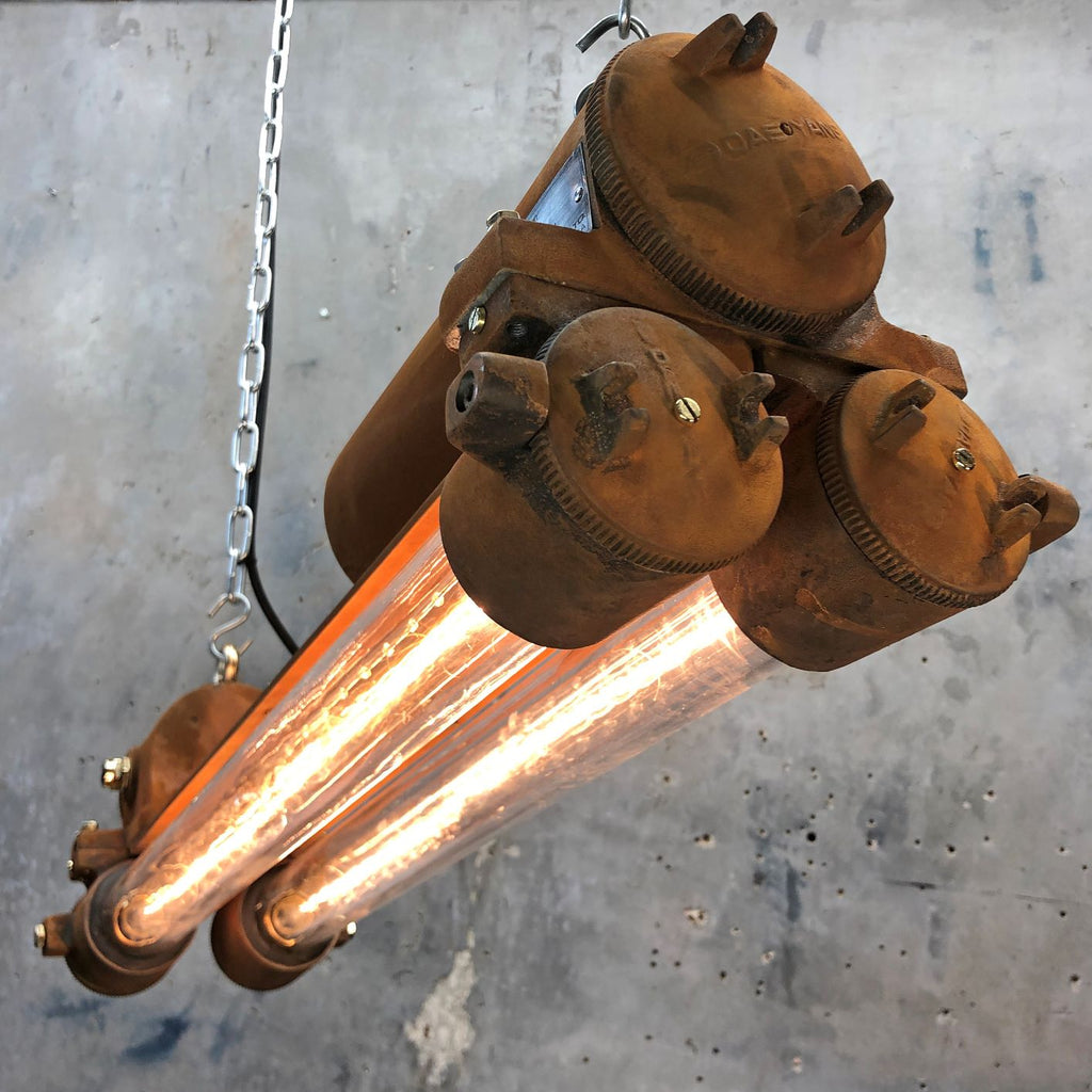 Vintage Industrial Rusty Flameproof Edison Ceiling Strip Light by Daeyang