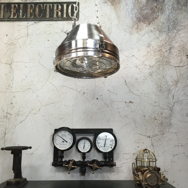Reclaimed vintage aluminium ceiling pendant with protective target grill