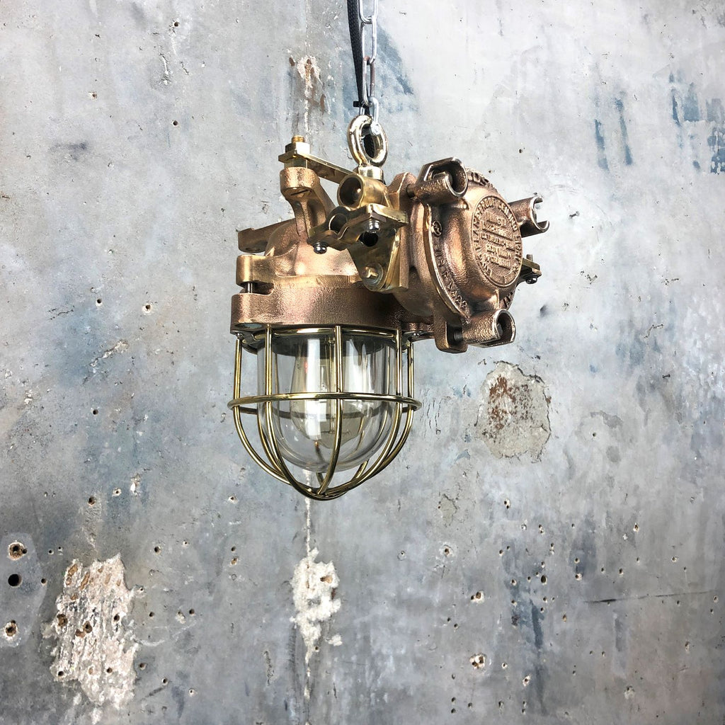 Industrial Flameproof Bronze Ceiling Light by Kokosha