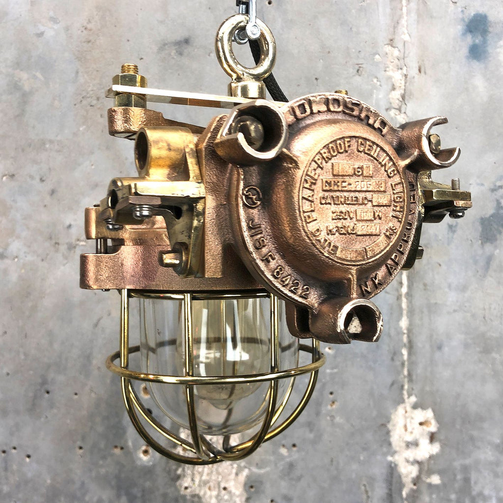 Japanese vintage industrial flameproof cast bronze ceiling pendant light