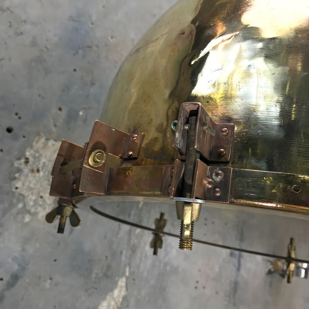 Large Industrial Japanese Brass Searchlight Pendant
