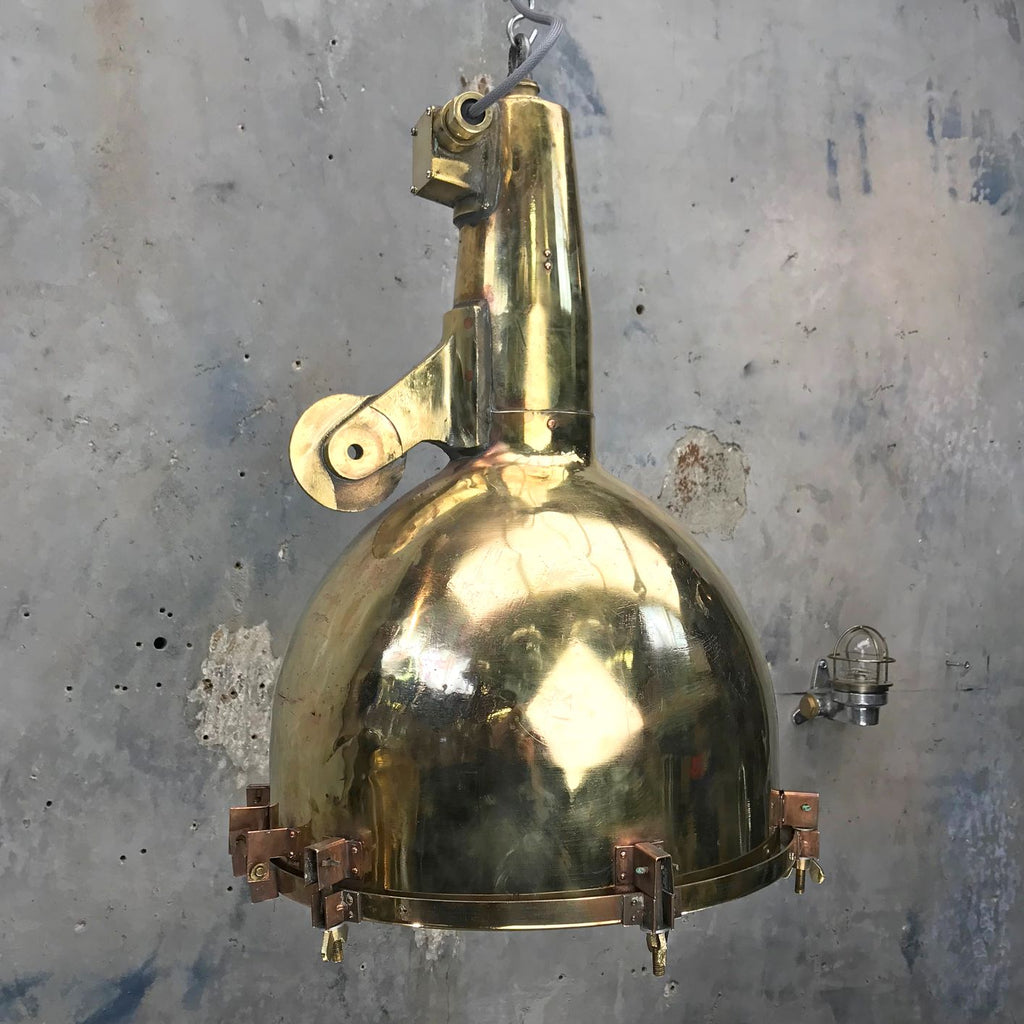 Large vintage Industrial Japanese Brass Searchlight ceiling pendant light