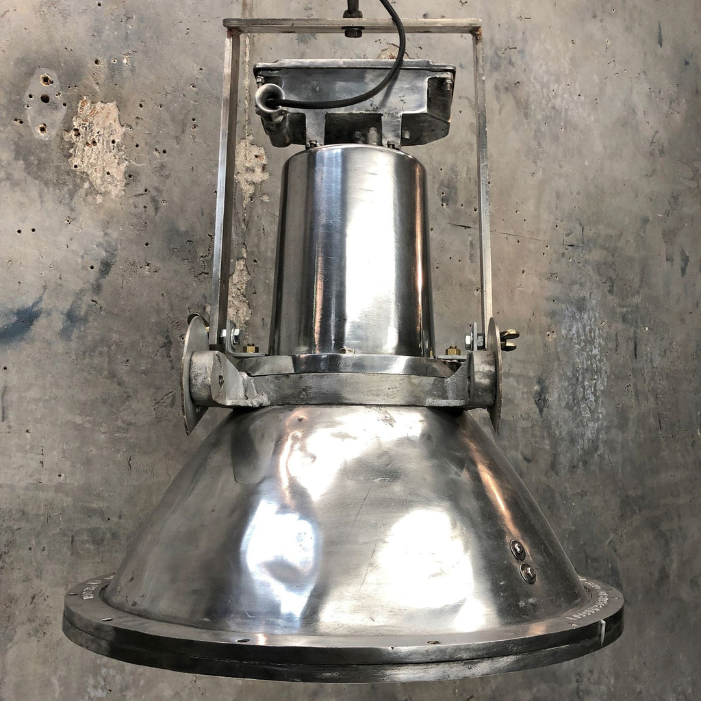Large dutch aluminum ceiling pendant. Original industrial lighting by Industria Rotterdam