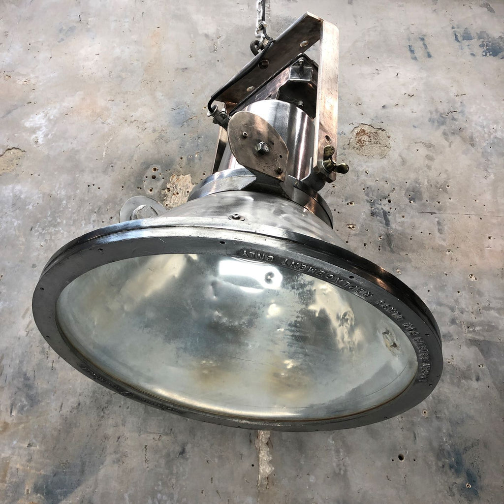 Large dutch aluminum ceiling pendant. Original industrial lighting by Industrie Rotterdam