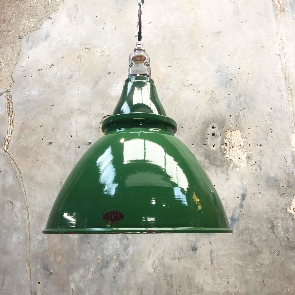1930's British Racing Green Thorlux Drum Ceiling Pendant