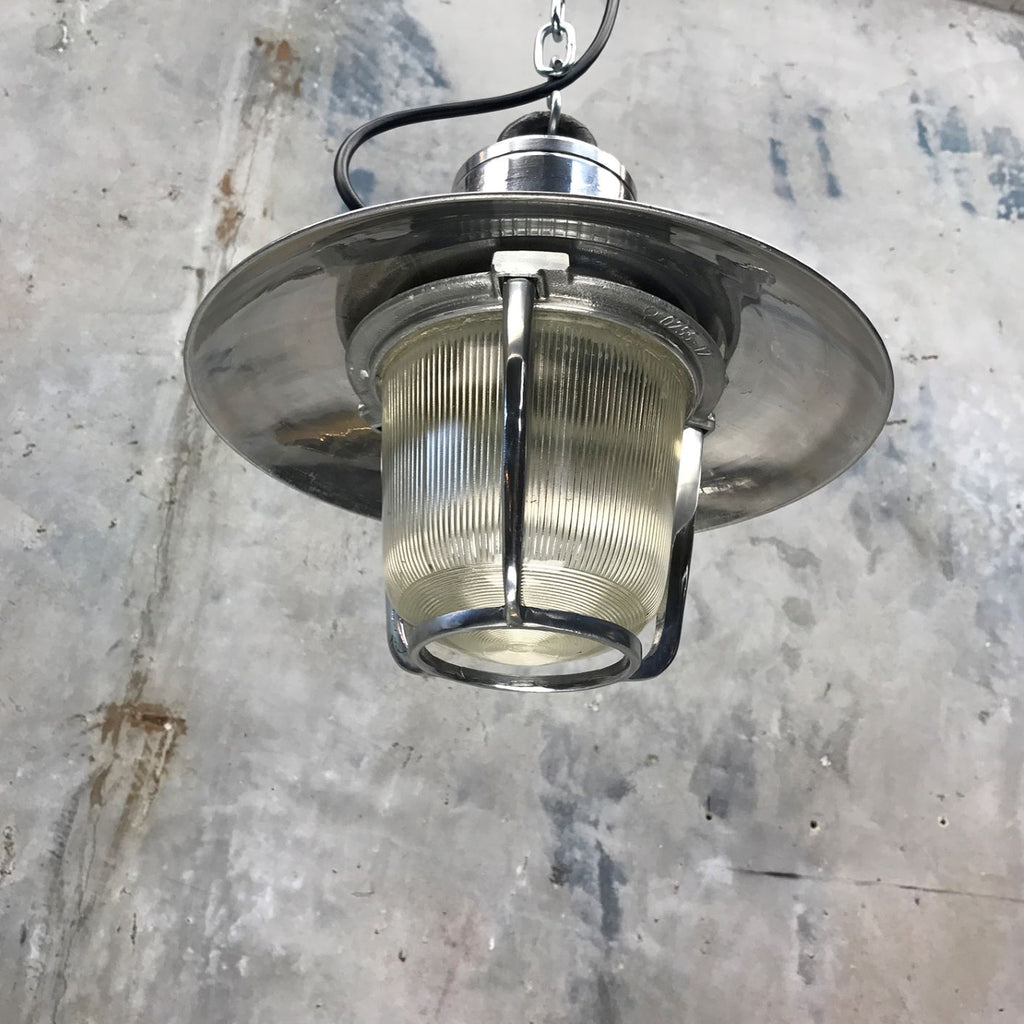 A vintage aluminium marine ceiling pendant with prismatic glass shade by EOW.