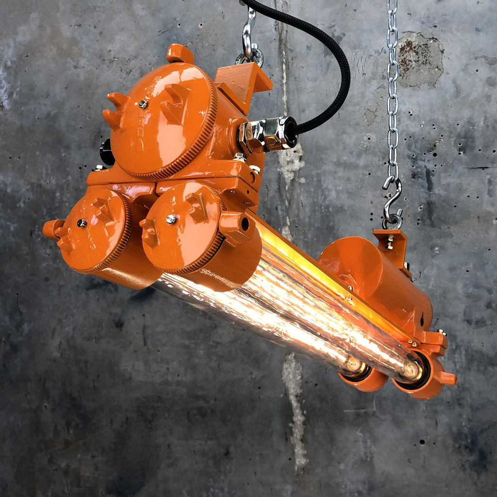 1970's Korean vintage industrial orange edison led strip light