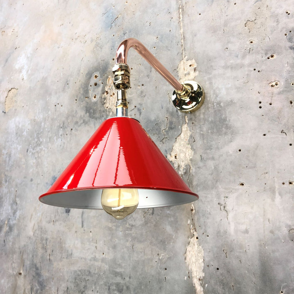 British army festoon lamp shade painted red with copper & brass cantilever wall fixing to create a bespoke wall light