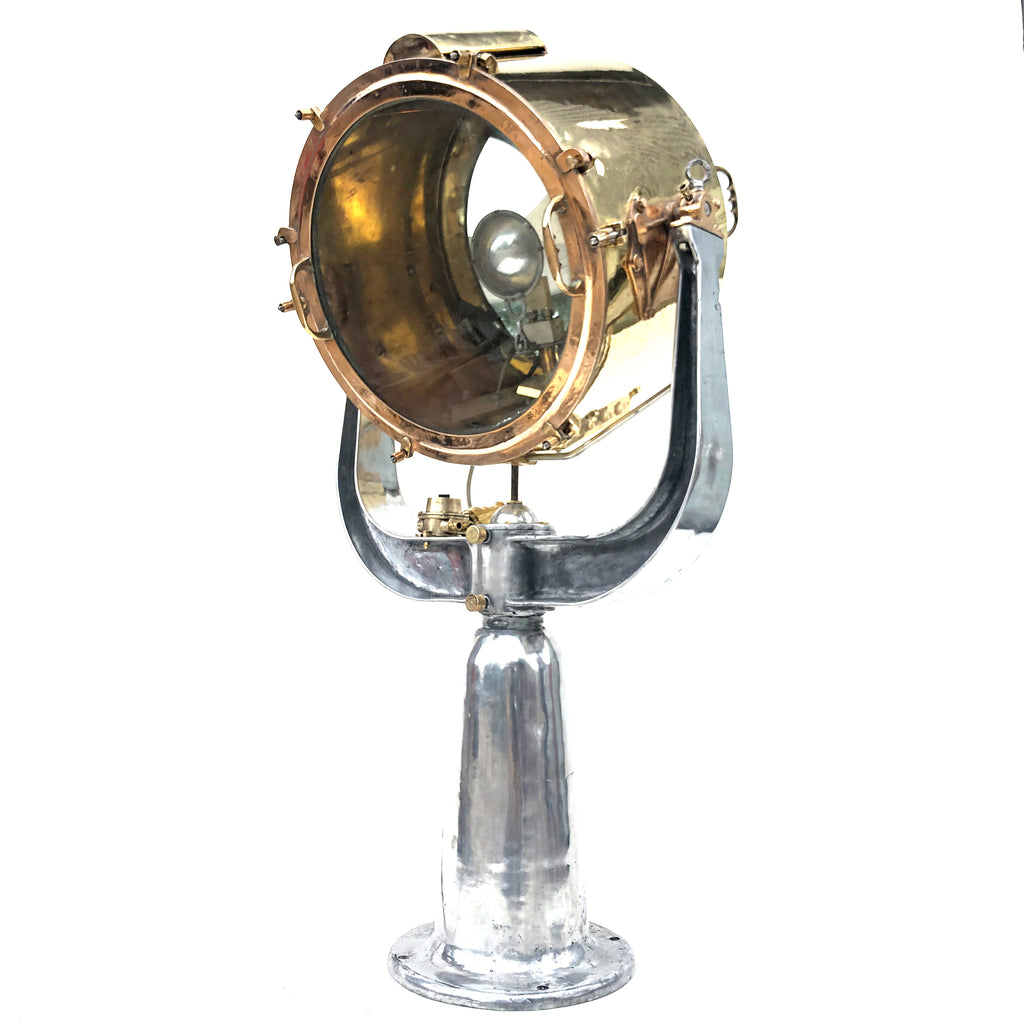 Large vintage military brass & aluminium floor standing search light floor lamp