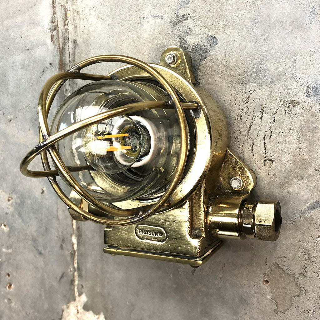 Nautical vintage industrial brass outdoor bulkhead wall light by Brasuk