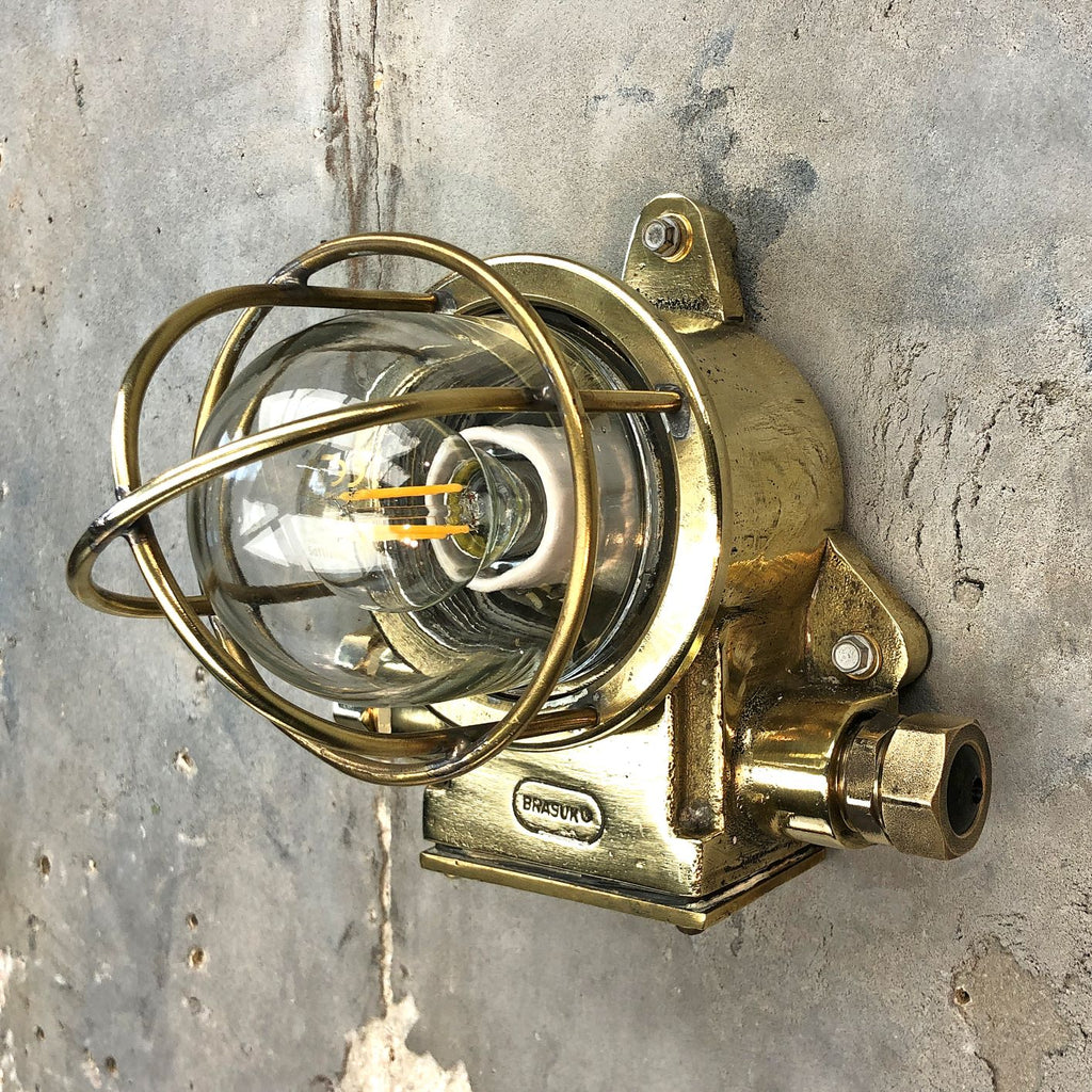 small British vintage industrial brass bulkhead wall light by Brasuk