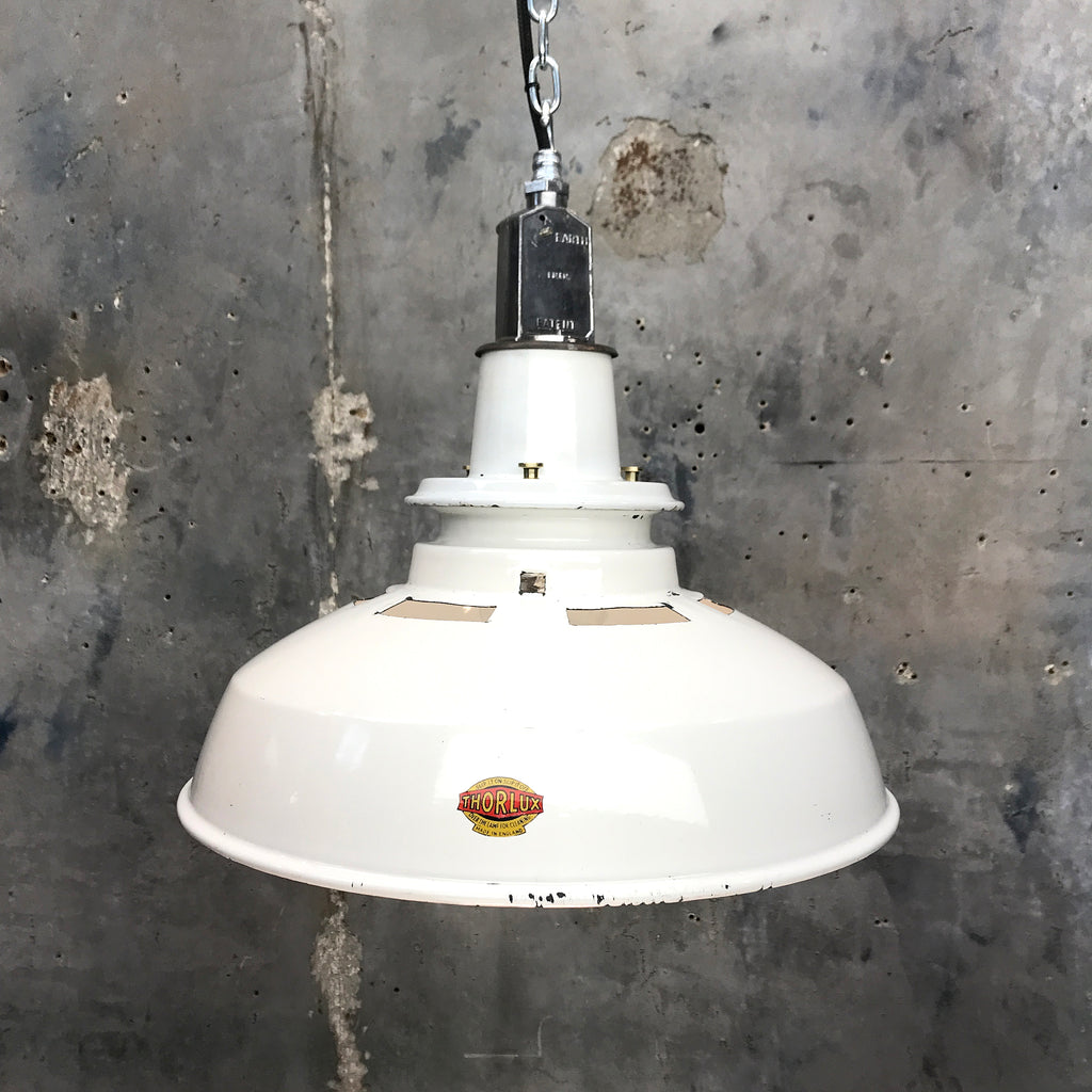 1930's white enamel vintage industrial ceiling light by Thorlux