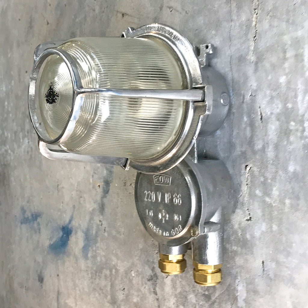 An outdoor retro industrial aluminium wall light by EOW.