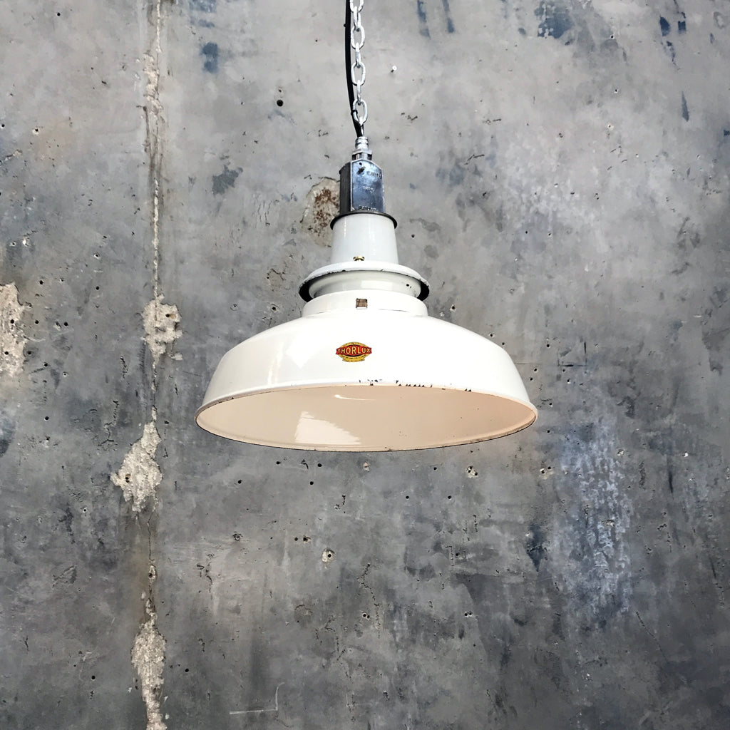 Vintage White Enamel Ceiling Factory Light by Thorlux