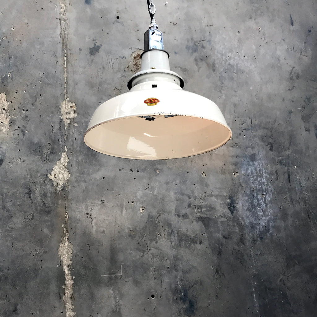 Original vintage reclaimed white enamel Thorlux ceiling factory light made in England.