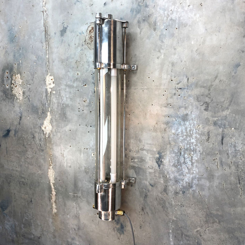 A retro industrial aluminium wall mounted striplight by Wittenberg.