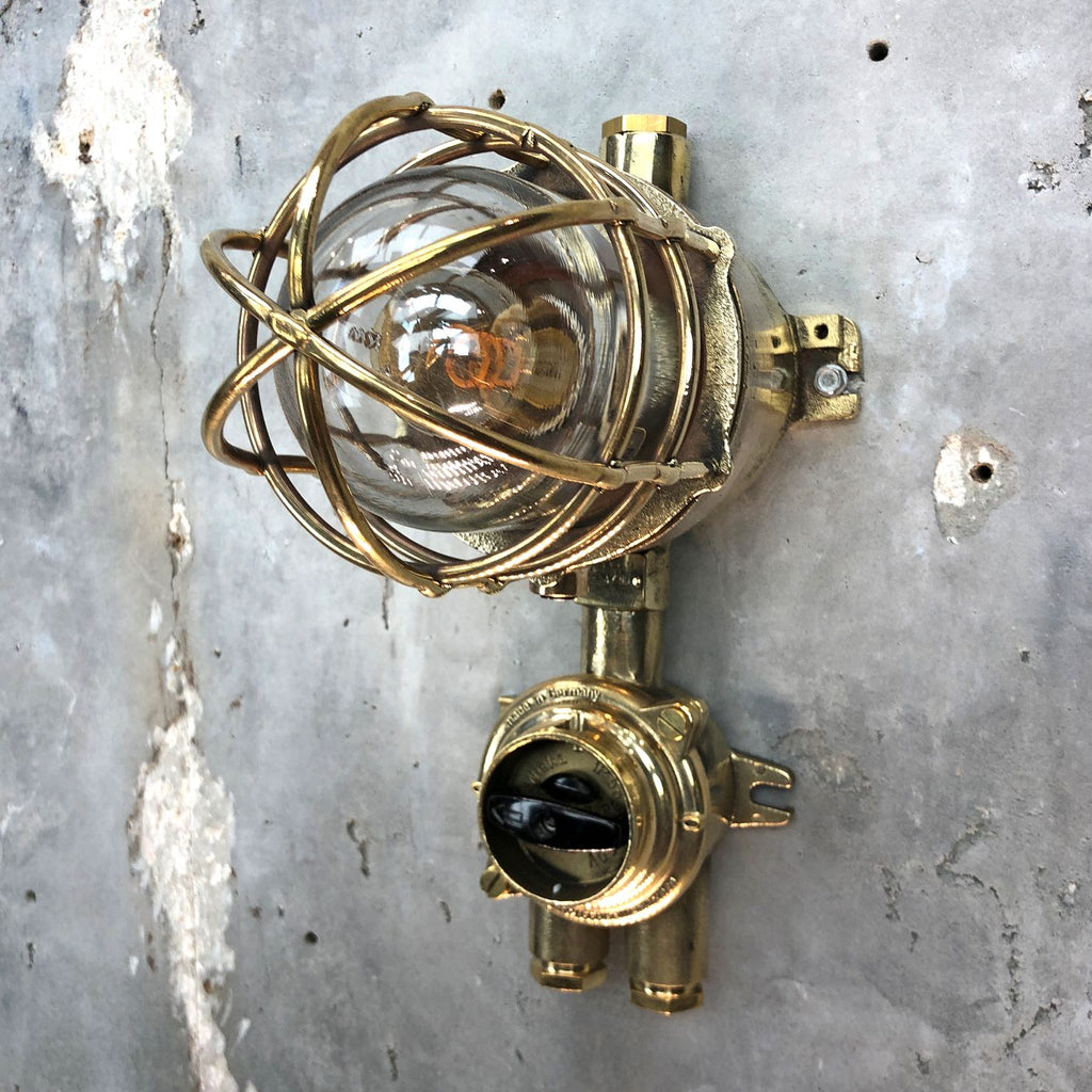Vintage industrial cast brass and bronze explosion proof wall light manufactured c1975 by Wiska