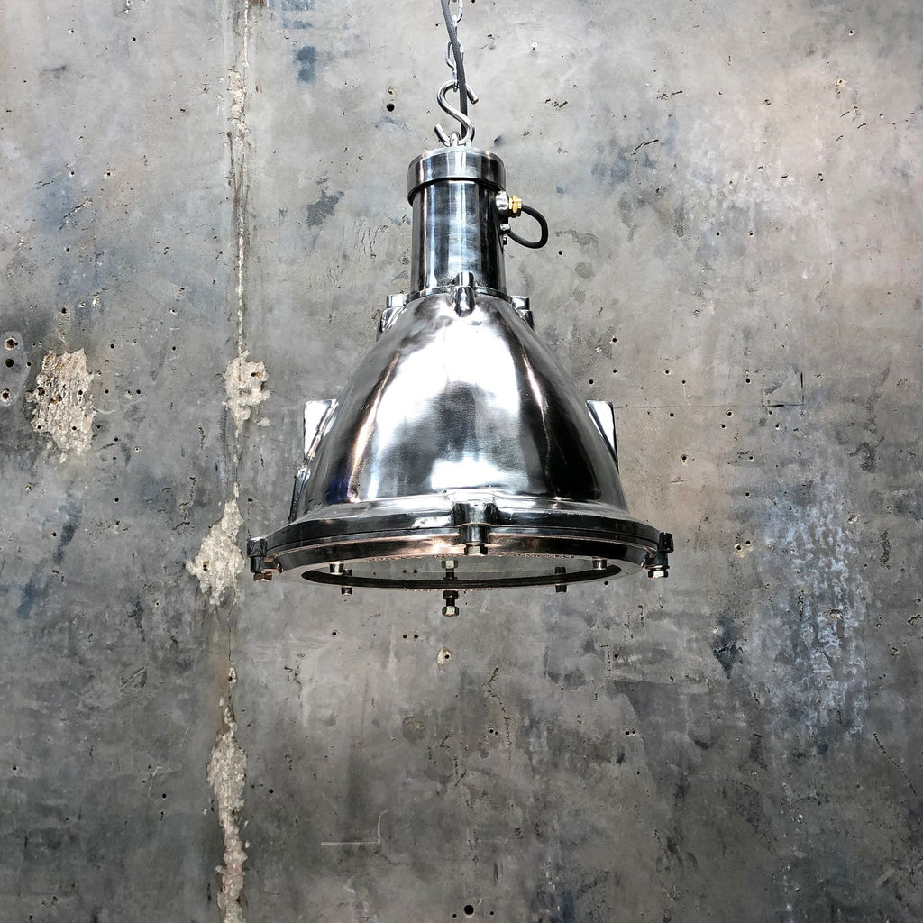 A vintage industrial aluminium ceiling pendant light made by Baliga of India.
