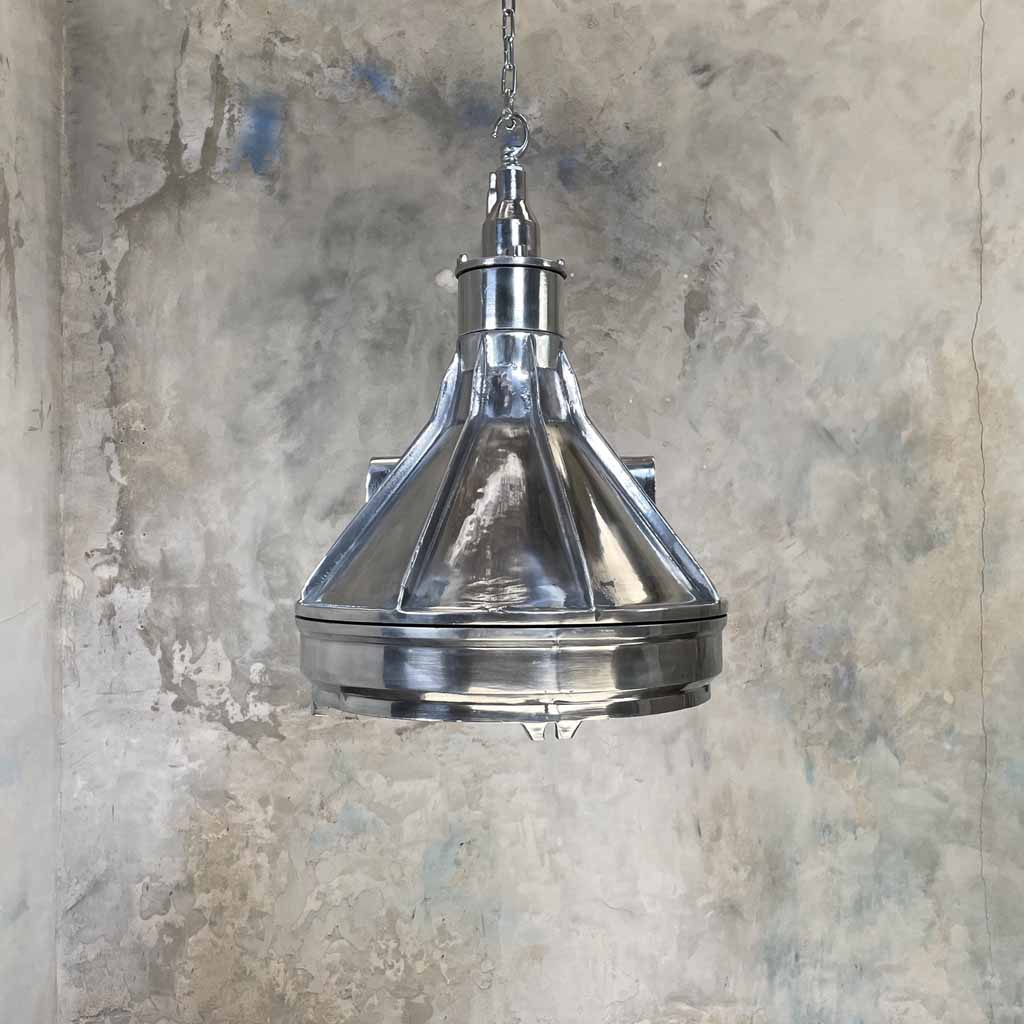 Large vintage industrial explosion proof aluminium ceiling pendant lighting.