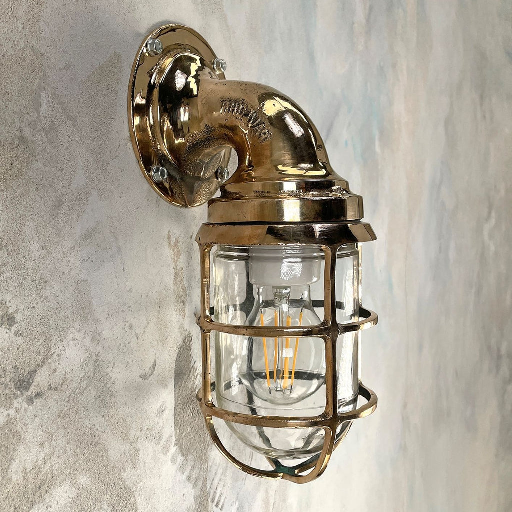 Vintage industrial 1960's Pauluhn bronze 9 degree wall light by Crouse Hinds