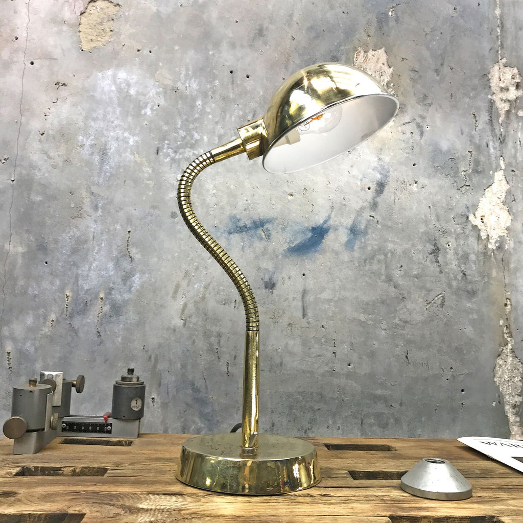 A retro industrial 1970's British made brass swan neck table lamp.