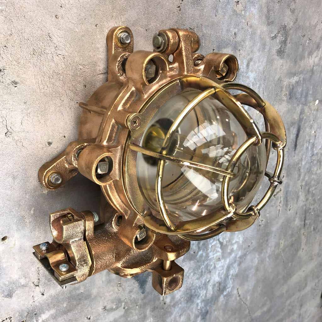 A vintage industrial outdoor solid phosphor bronze explosion proof wall light by Morio Denki.