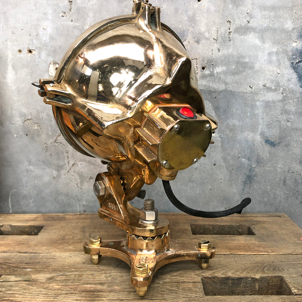 A mid century vintage industrial 1950's American cast bronze table lamp
