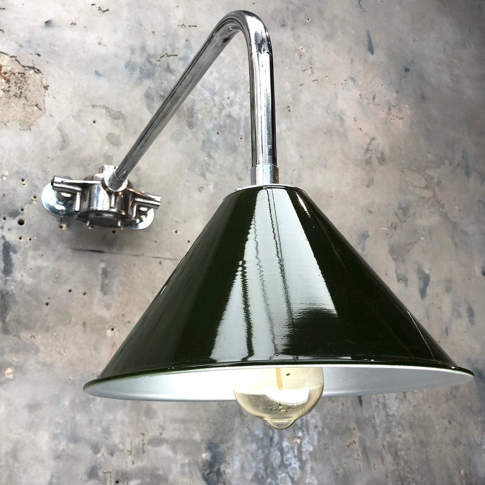 British Army Green Lamp Shade cantilever wall light