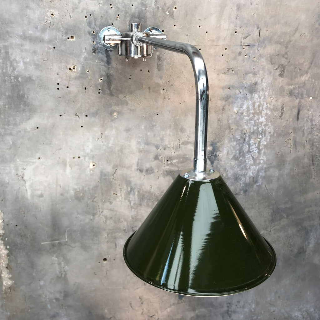 British Army Green Lamp Shade cantilever wall light.