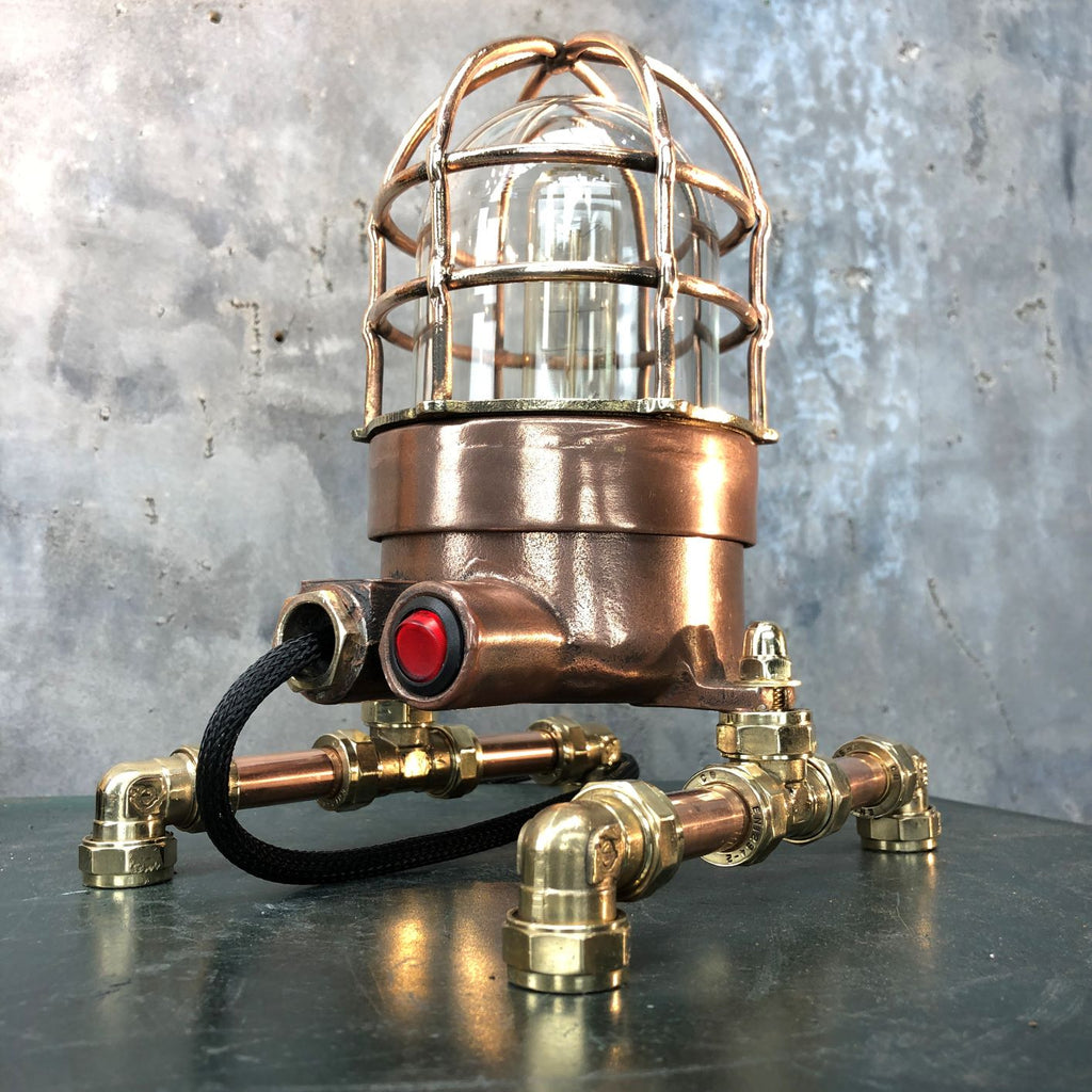 Retro industrial Copper and Brass steampunk style Table Lamp