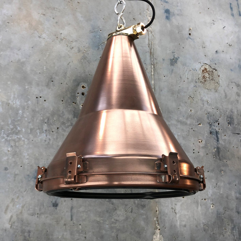 copper vintage industrial ceiling pendant light, conical shaped.