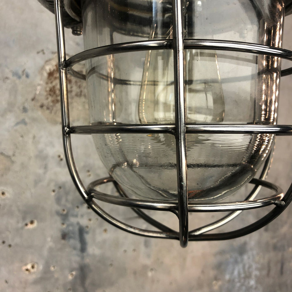 1980's Korean Industrial Cast Aluminum Ceiling Pendant with Glass Dome and Cage